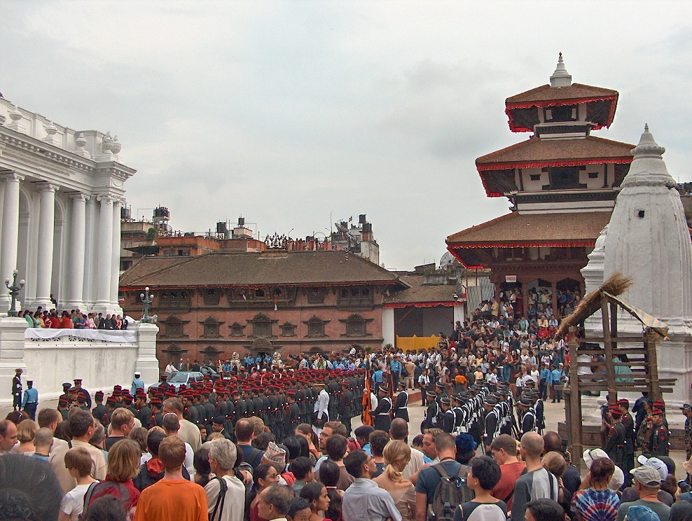 crowd gathering for the indra jatra festival at durbar square in kathmandu