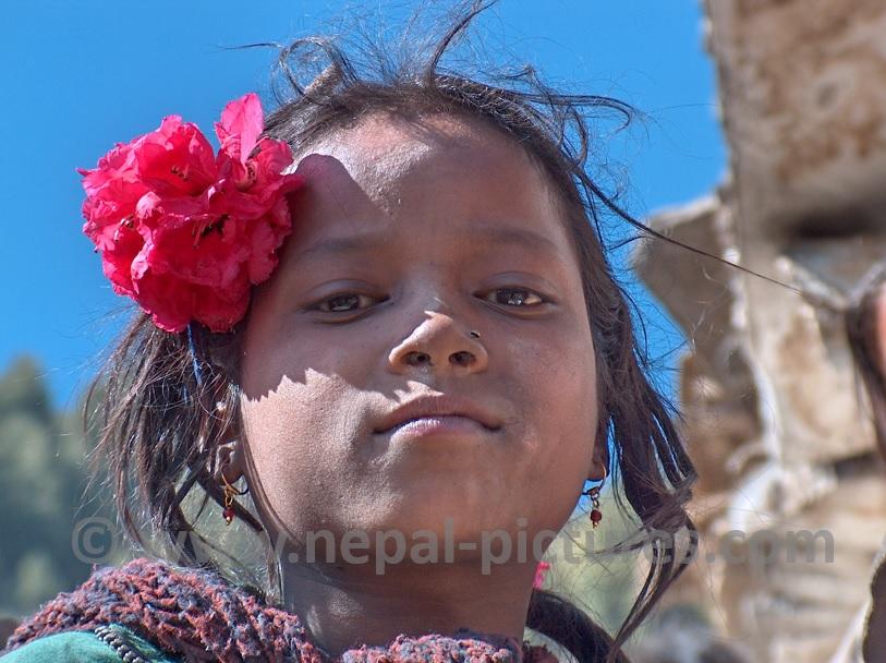 Nepali girl Rhododendron flower